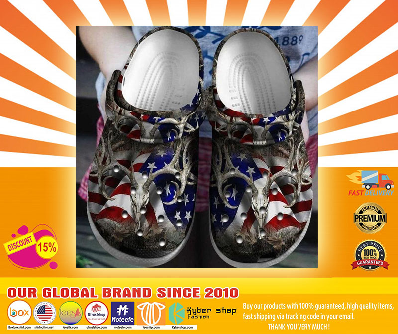 American flag deer hunting croc shoes crocband clog - LIMITED EDITION