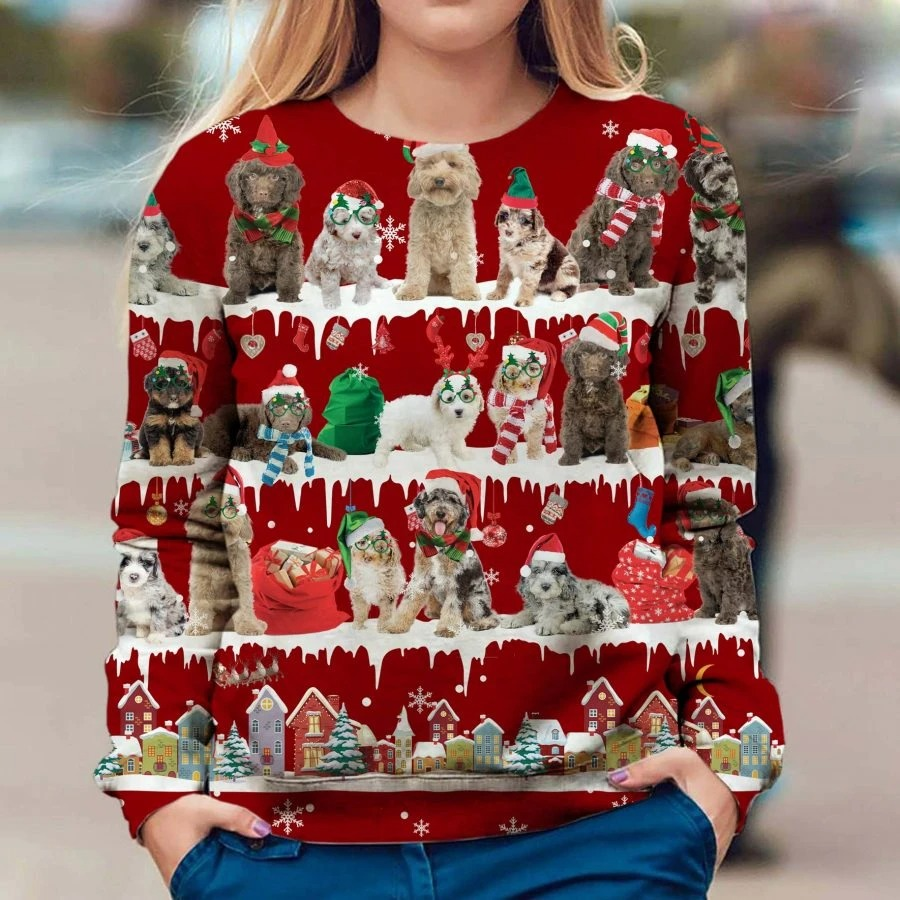 Aussiedoodle Dog snow christmas ugly sweater
