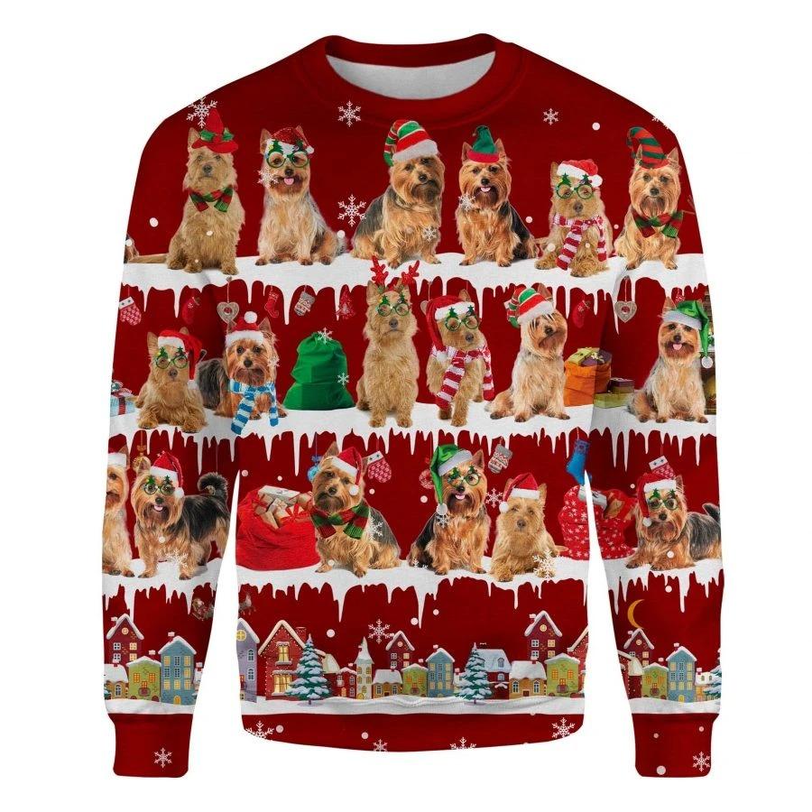 Australian Terrier Dog snow christmas ugly sweater 1
