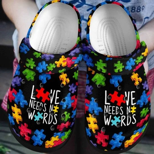 Autism Love Needs No Word croc shoes crocband - LIMITED EDITION
