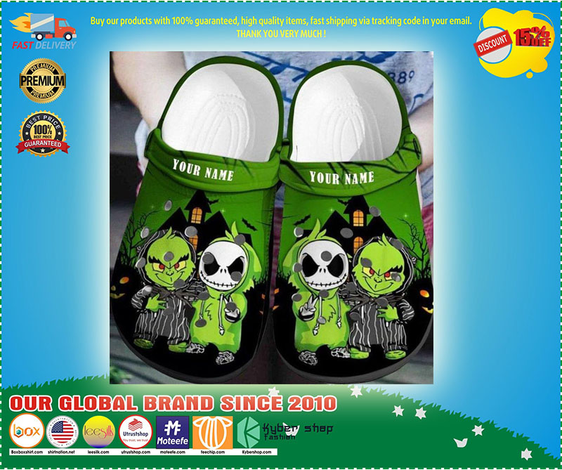 Baby Grinch and Jack Skellington custom name crocs shoes crocband  - LIMITED EDITION