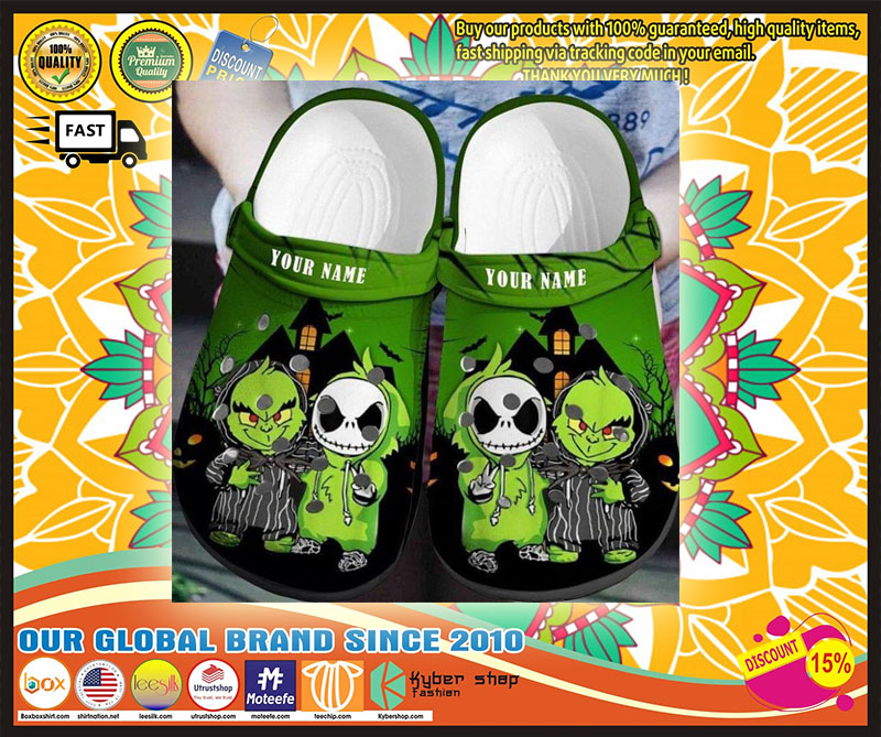 Baby Grinch and Jack Skellington custom name crocs shoes crocband 4