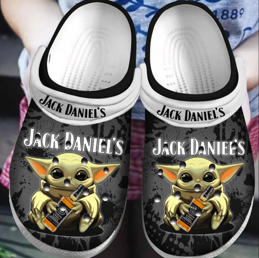 Baby Yoda hug Jack Daniel's crocs crocband
