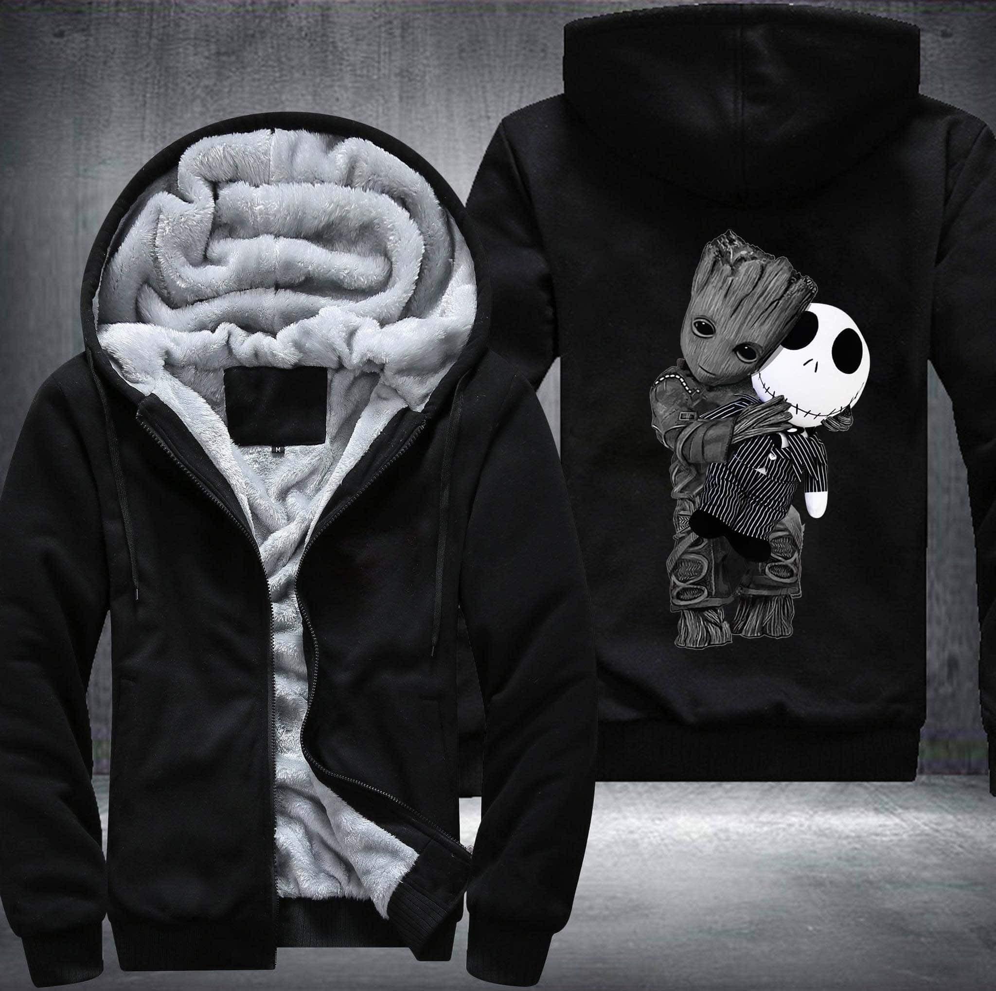 Baby groot and jack skellington fleece hoodie black