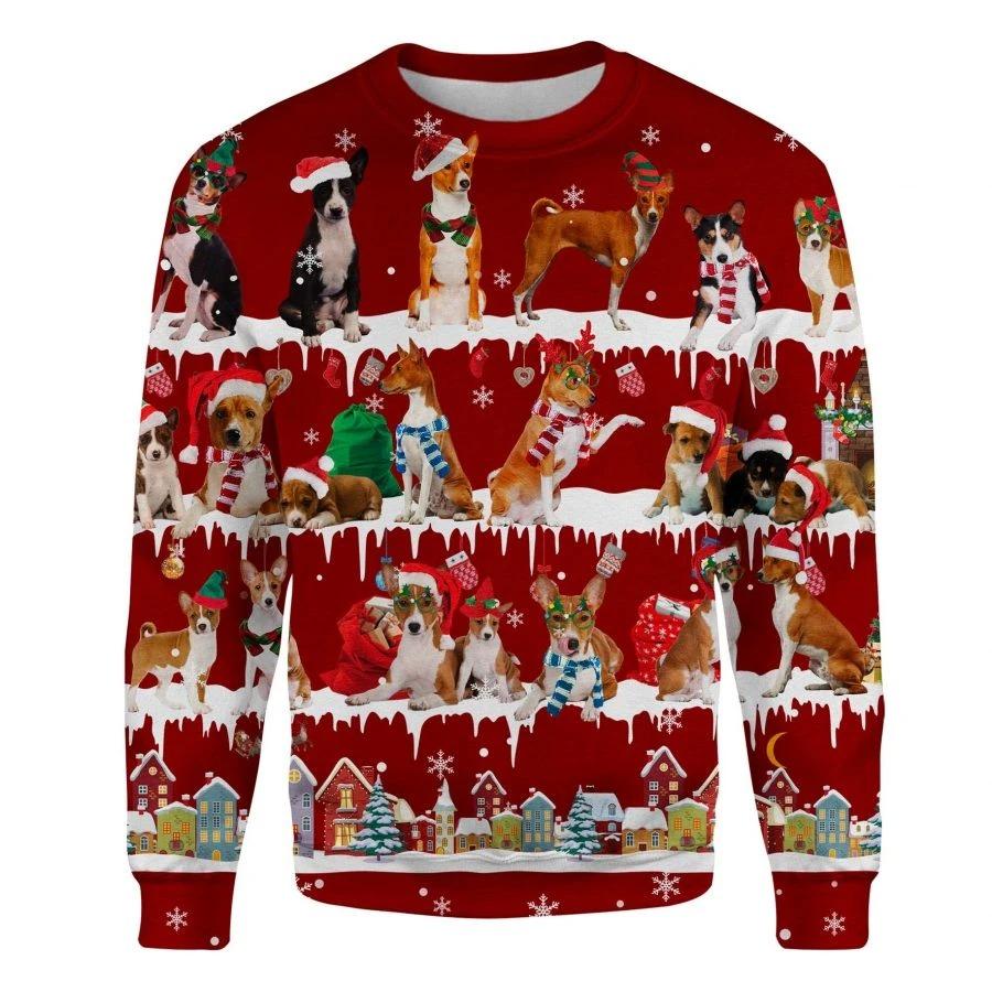 Basenji Dog snow christmas ugly sweater 1
