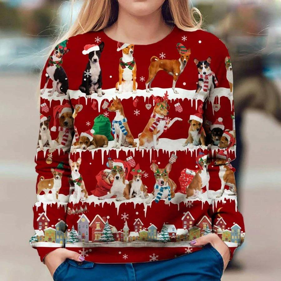 Basenji Dog snow christmas ugly sweater