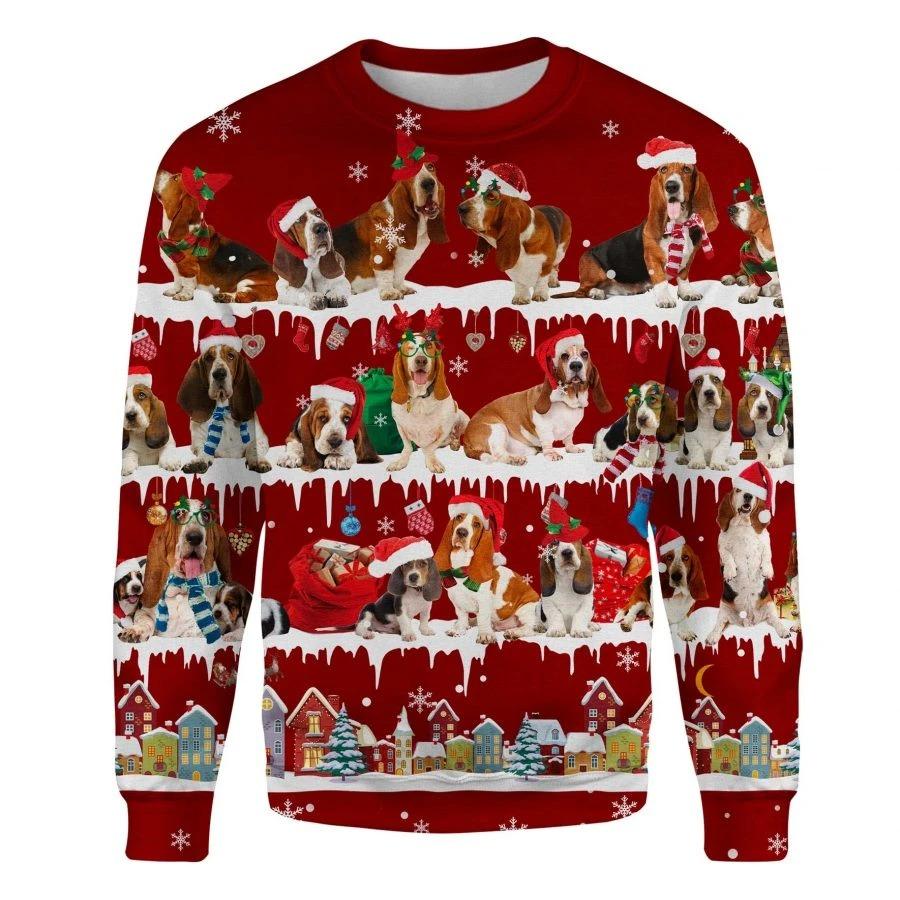 Basset Hound Dog snow christmas ugly sweater 1