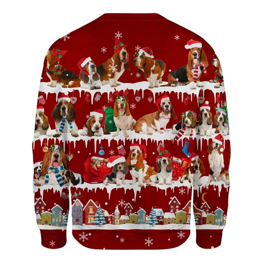 Basset Hound Dog snow christmas ugly sweater 2