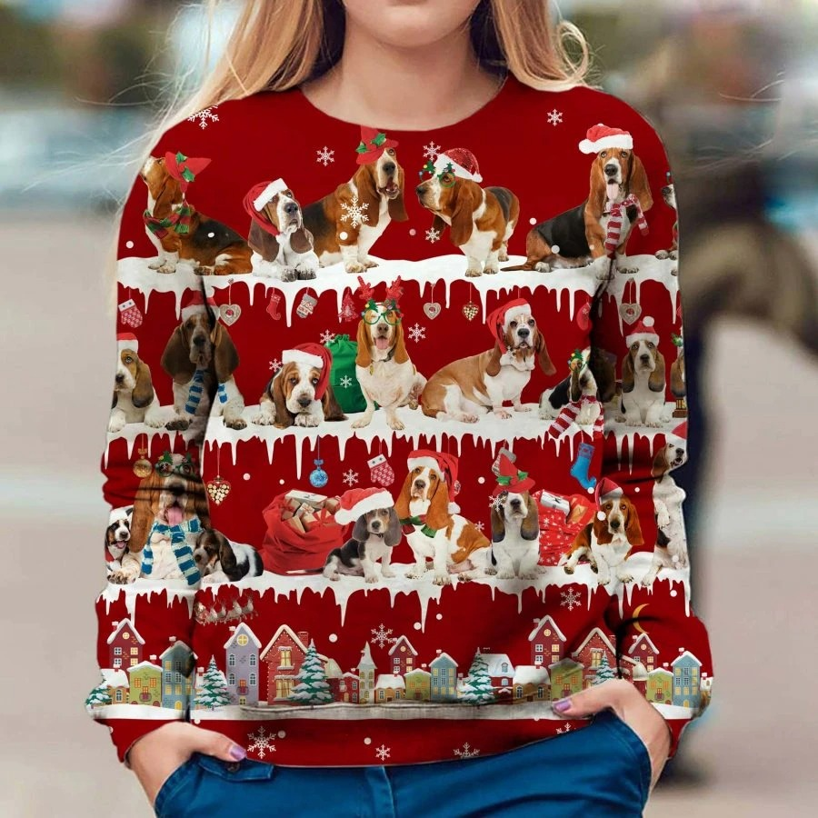 Basset Hound Dog snow christmas ugly sweater
