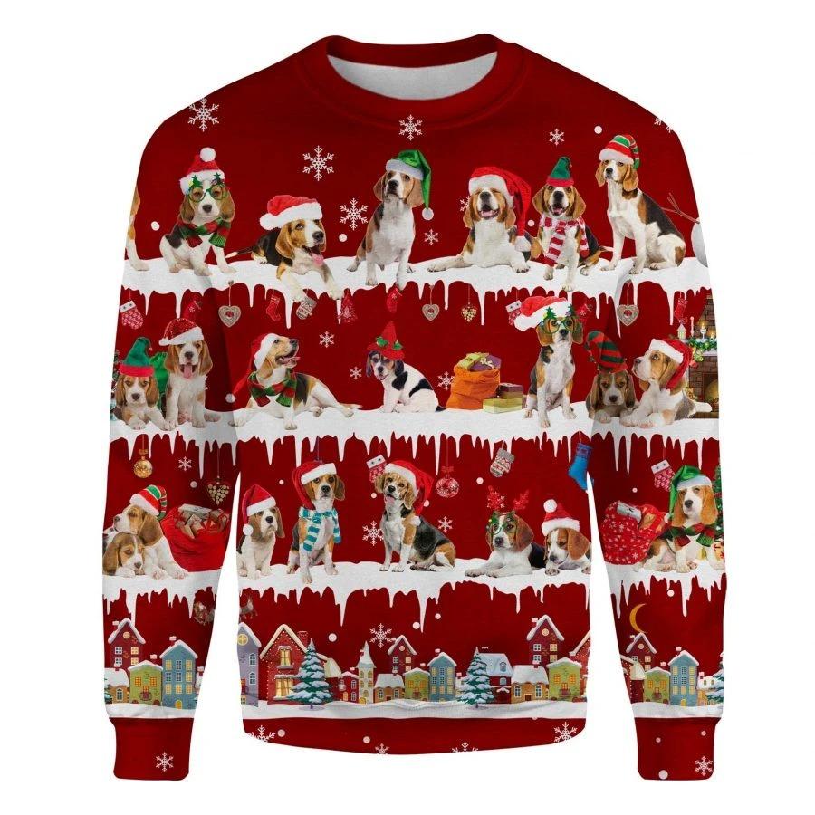 Beagle Dog snow christmas ugly sweater 1