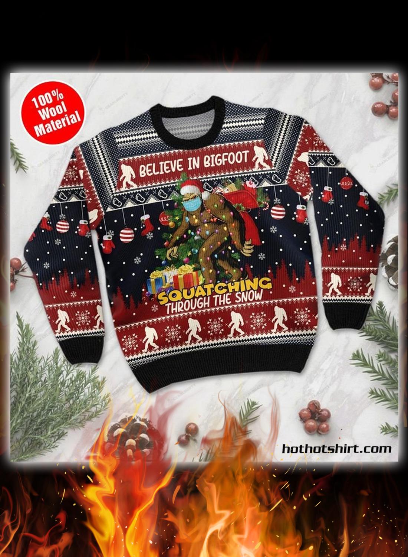 Believe in bigfoot 3d christmas sweater 1