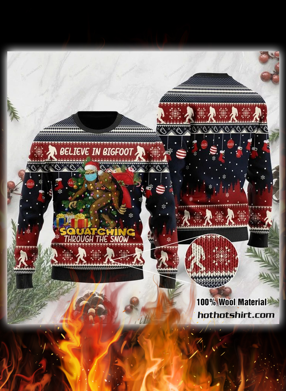 Believe in bigfoot 3d christmas sweater