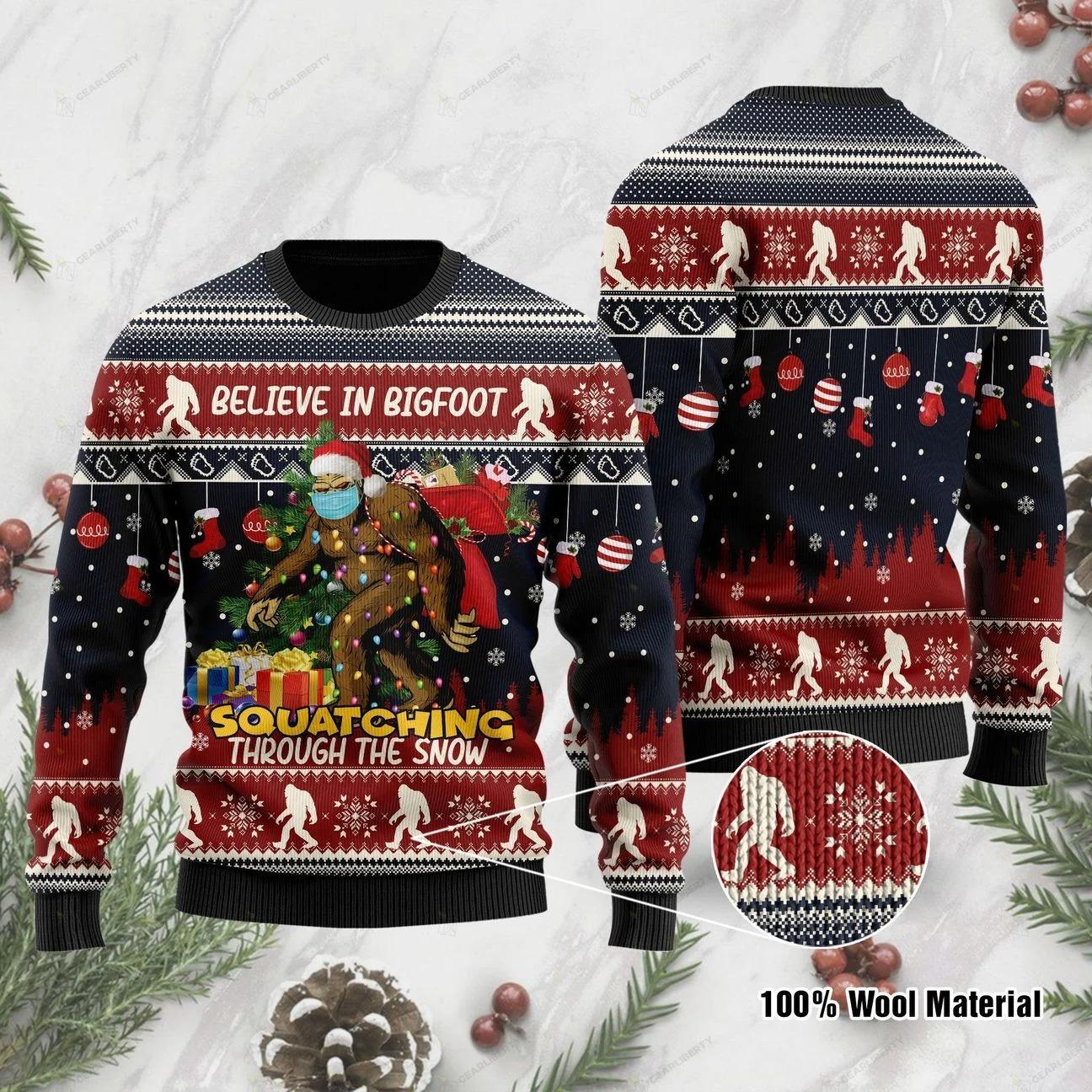 Believe in bigfoot squatching full printing ugly sweatshirt