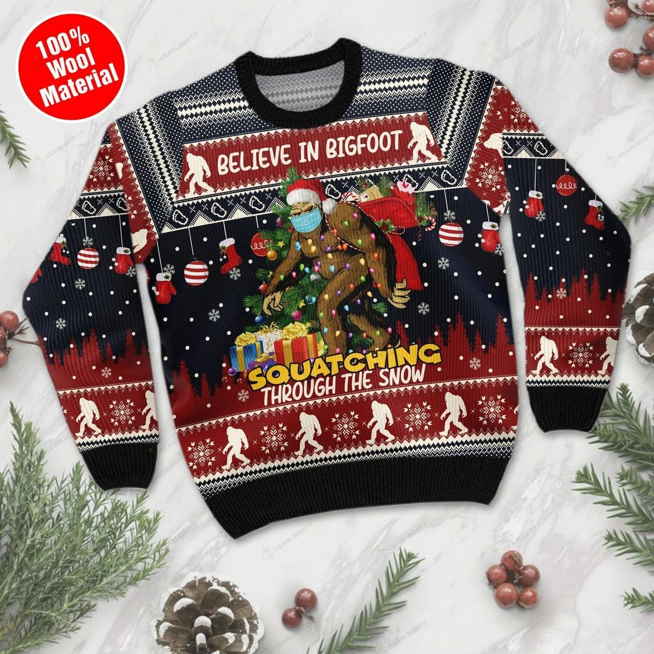 Believe in bigfoot squatching full printing ugly sweatshirt-front