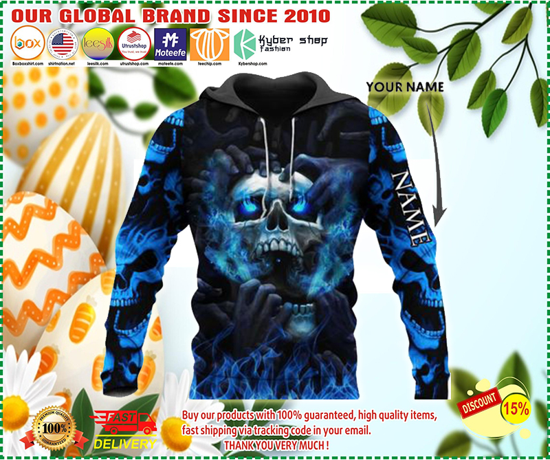 Blue eyes screaming skull custom personalized name 3d hoodie - LIMITED EDITION BBS