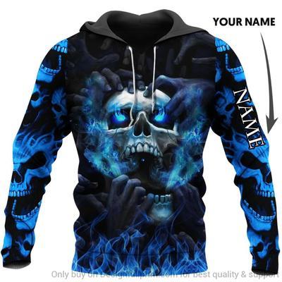 Blue eyes screaming skull personalized custom name 3d hoodie