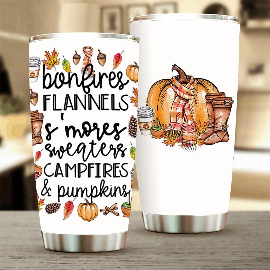 Bonfires flannels s'mores sweaters campfires and pumpkins tumbler