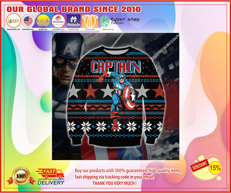 Captain america 3d print ugly sweater