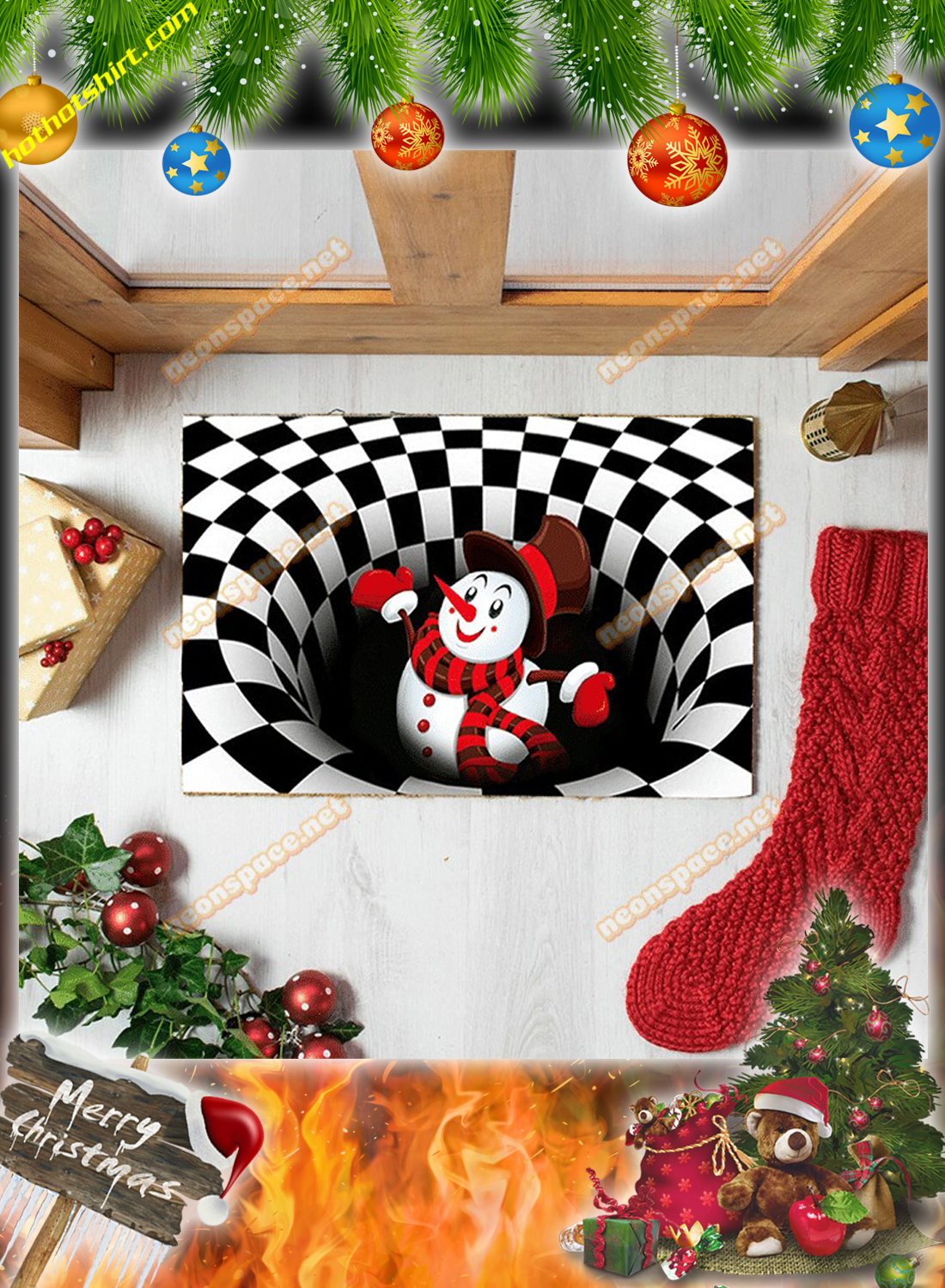 Cheer snowman christmas 3D illusion doormat 1