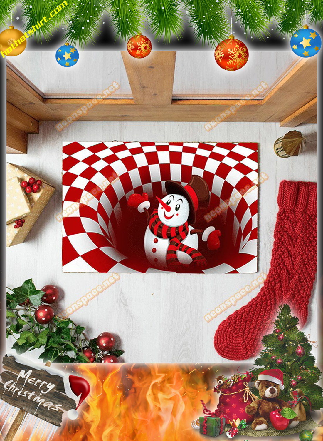 Cheer snowman christmas 3D illusion doormat 2