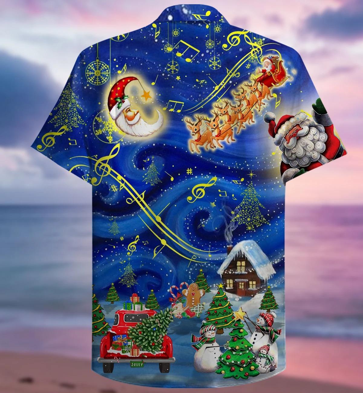 Christmas sky hawaiian shirt back