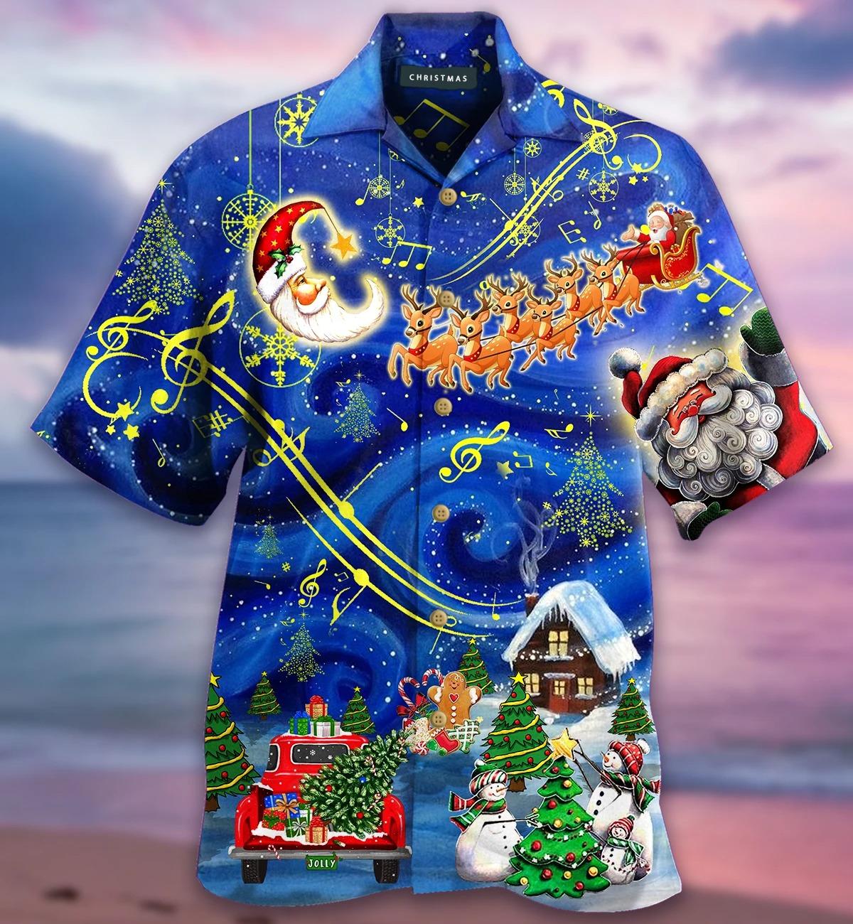 Christmas sky hawaiian shirt front