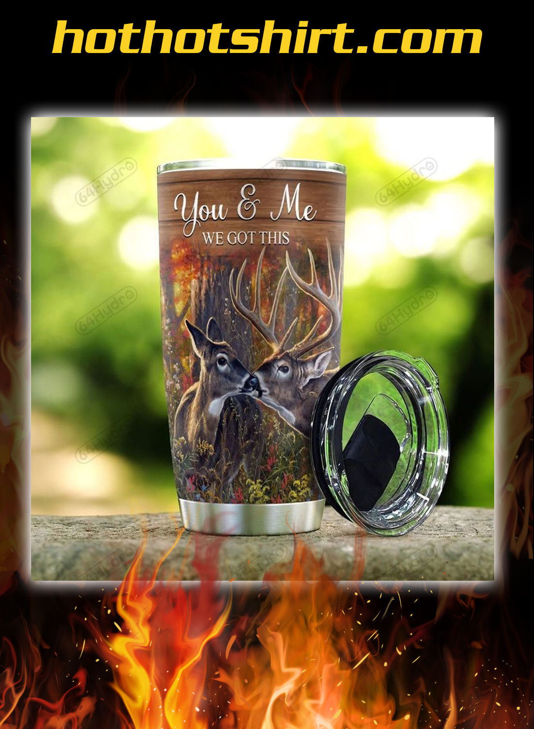 Deer couple to my husband your wife you and me tumbler 1