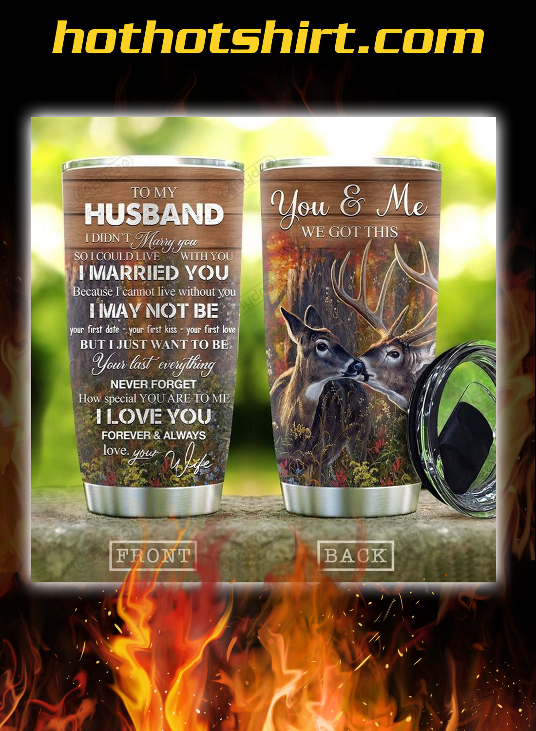 Deer couple to my husband your wife you and me tumbler