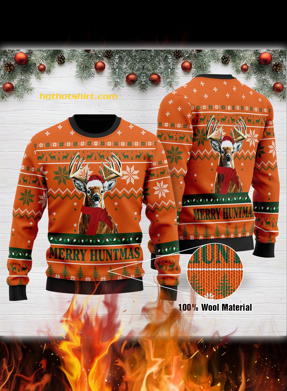Deer merry huntmas christmas ugly sweatshirt 1
