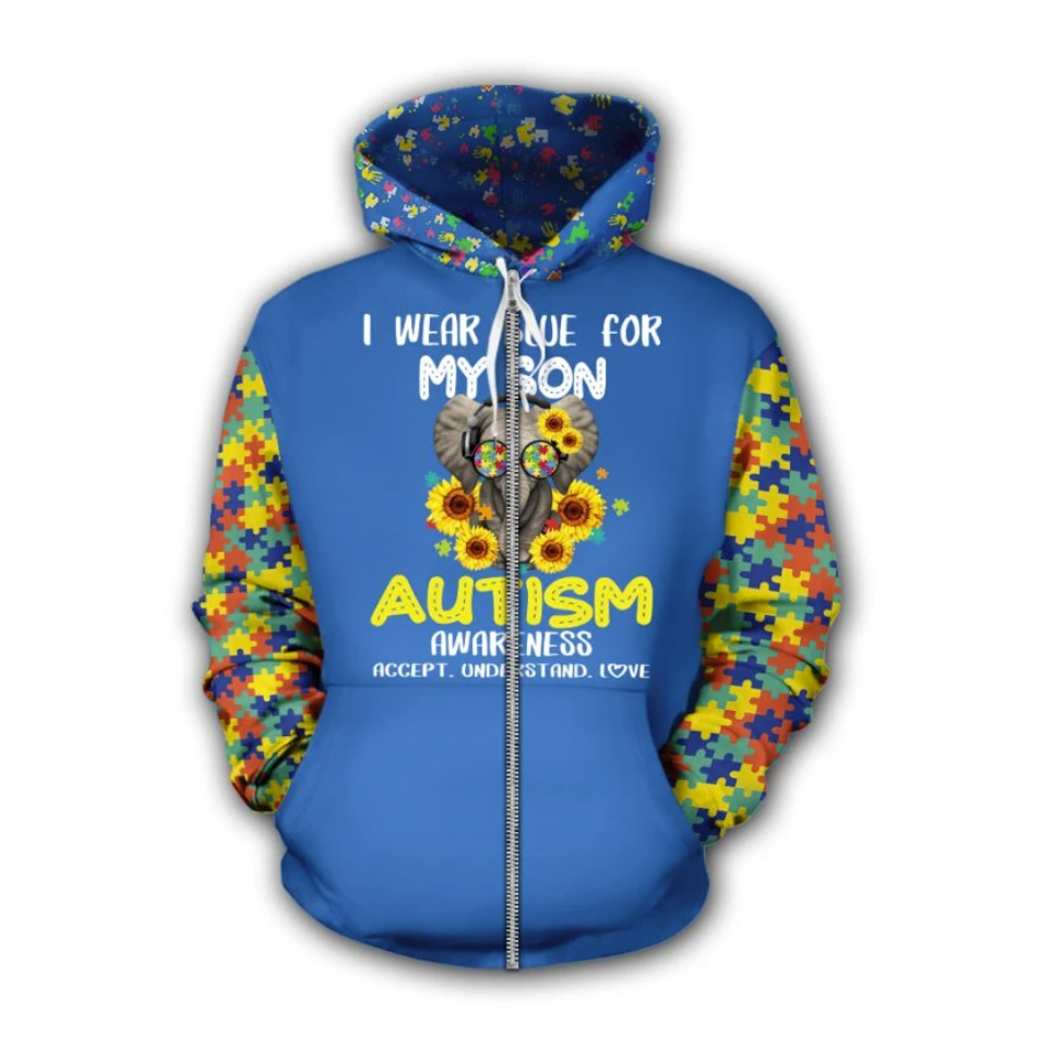 Elephant i wear blue for my son autism awareness all over printed 3D zip hoodie