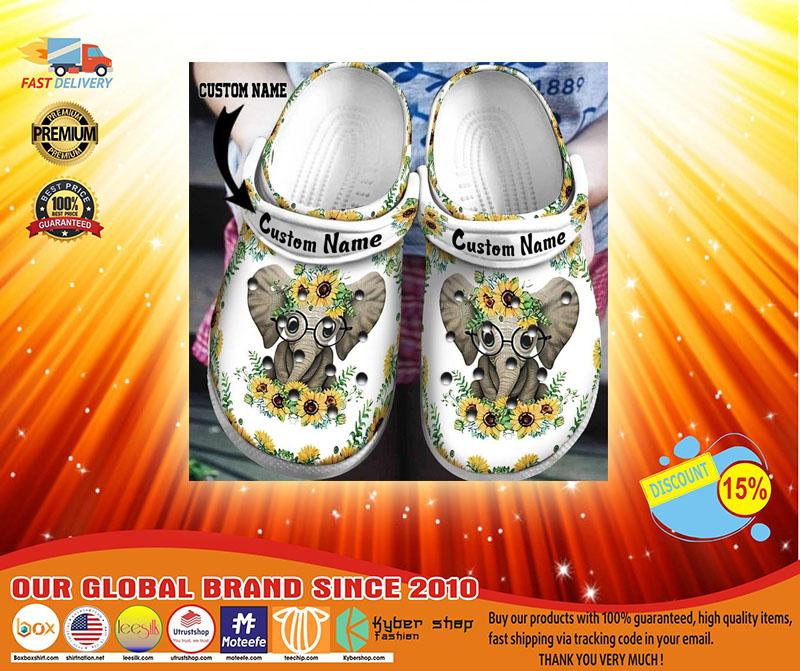 Elephant sunflower custom personalized name crocband crocs shoes-LIMITED EDITION