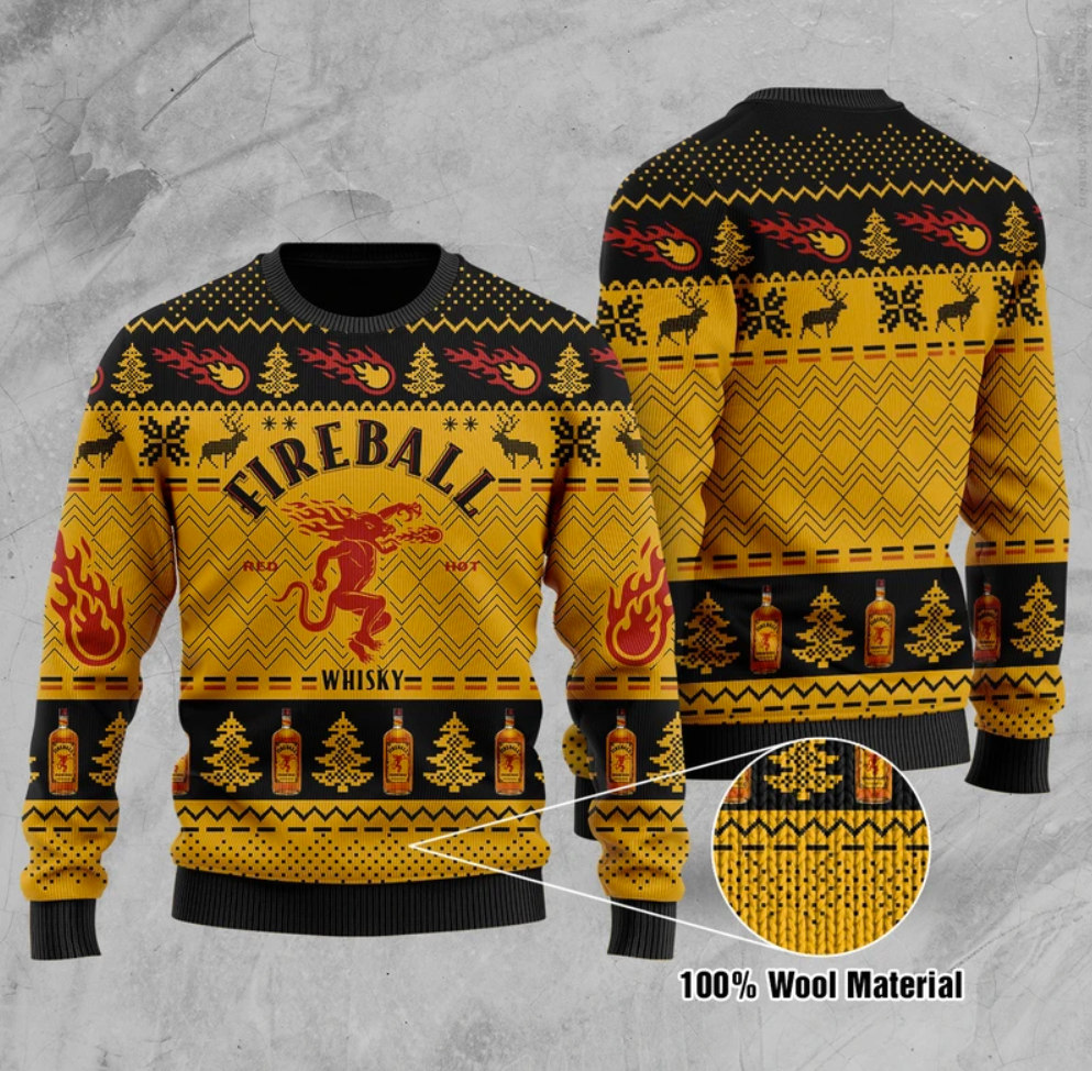 Fire ball whisky ugly sweater