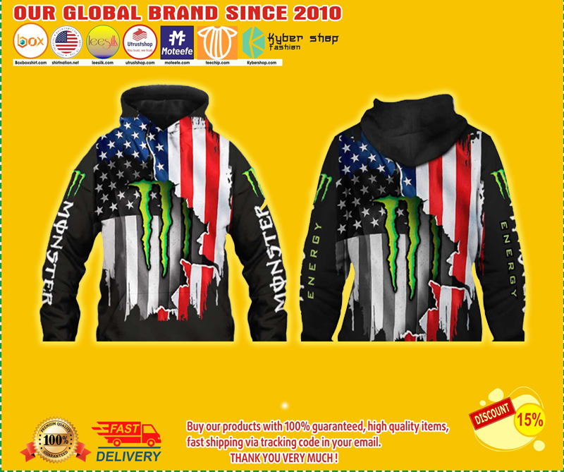 Flag american monster energy 3d hoodie - LIMITED EDITION BBS