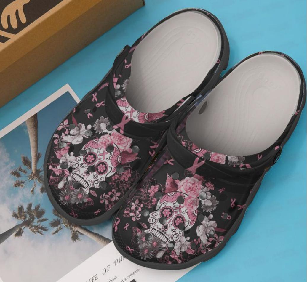 Floral skull breast cancer awareness crocs crocband - dnstyles