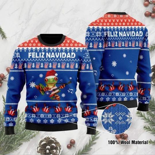 Frog Puerto Rico Feliz Navidad Sweater - LIMITED EDTION