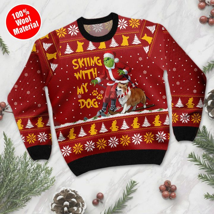 Grinch skiing with my dog 3d christmas sweater- pic 1