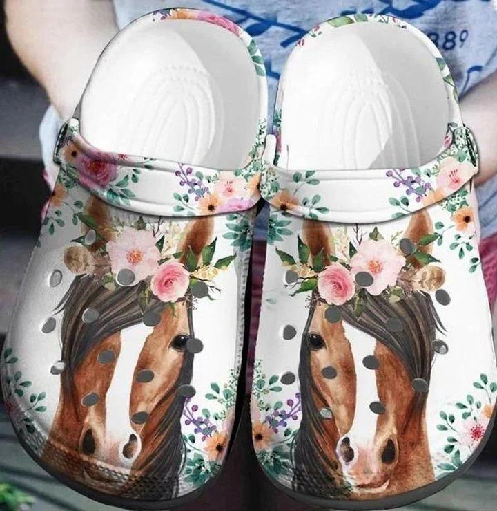 Horse Flowers Crocs Crocband Clog