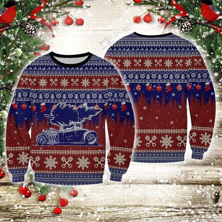 Hot rod 3d christmas sweater