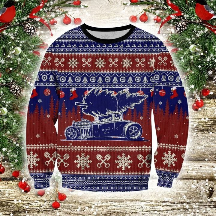 Hot rod 3d christmas sweater- pic 1