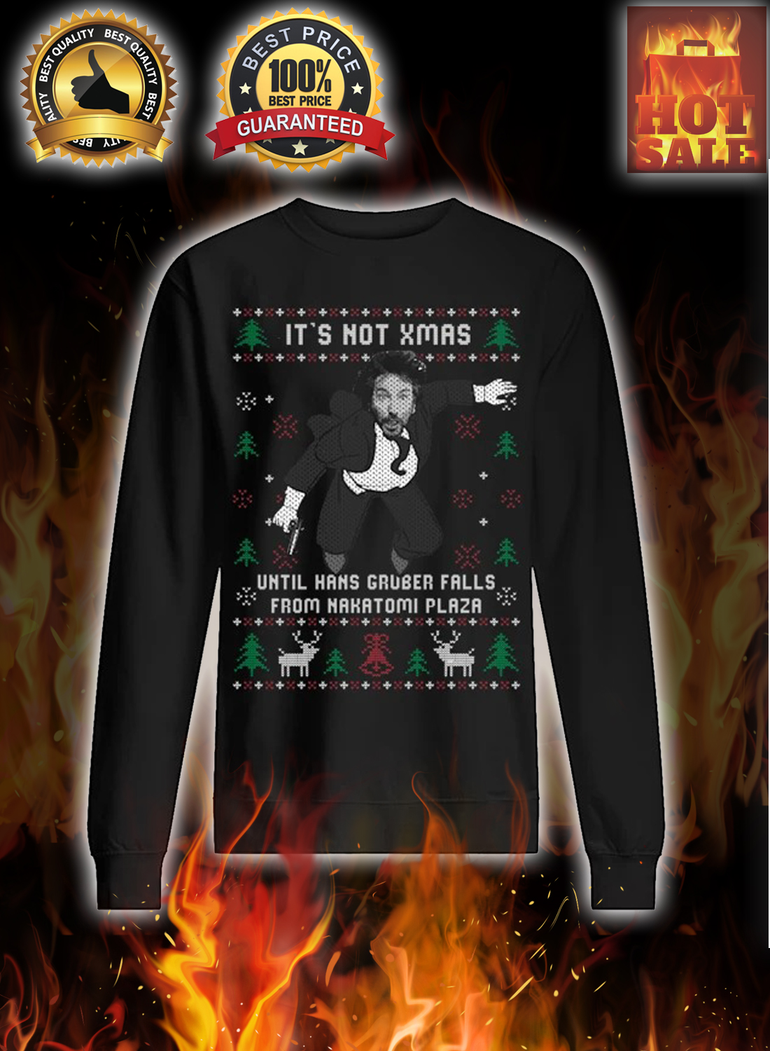 It's not xmas until hans gruber falls from nakatomi plaza ugly christmas sweater 1