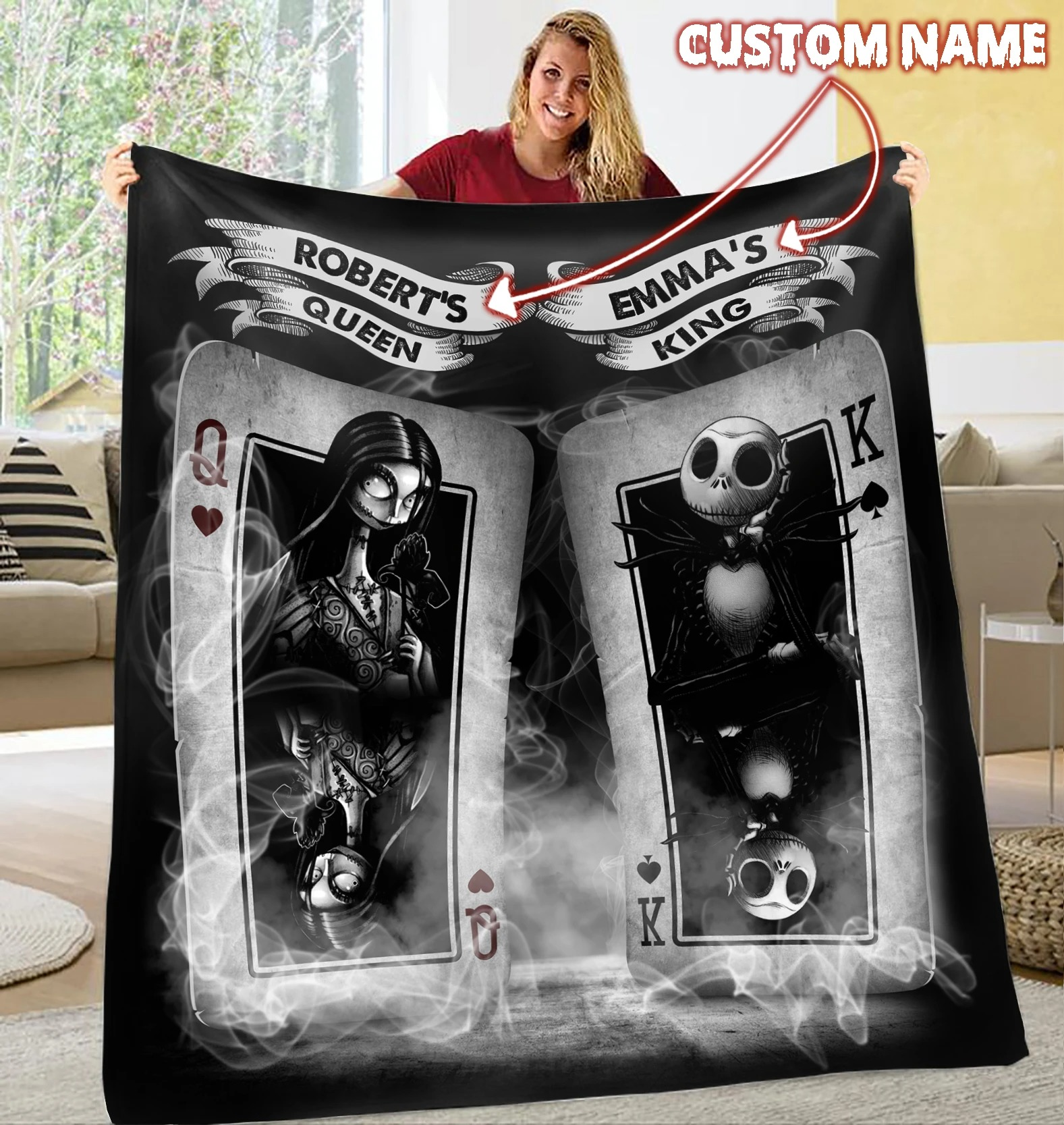 Jack Skellington king Sally queen quilt custom personalized name - LIMITED EDITION