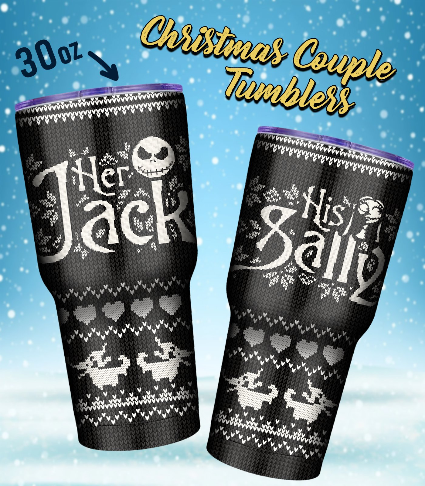 Jack and sally couple tumbler