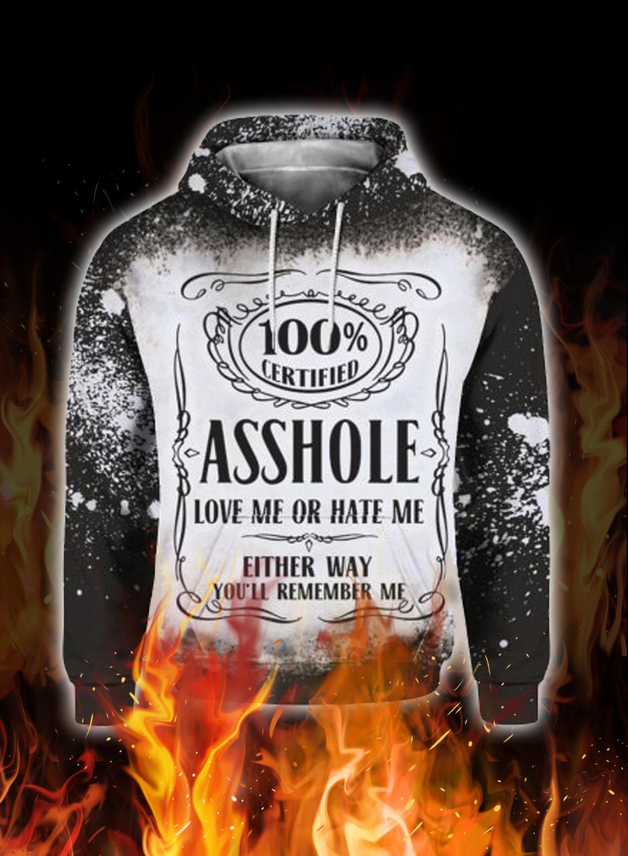 Jack daniel's asshole love me or hate me 3d hoodie