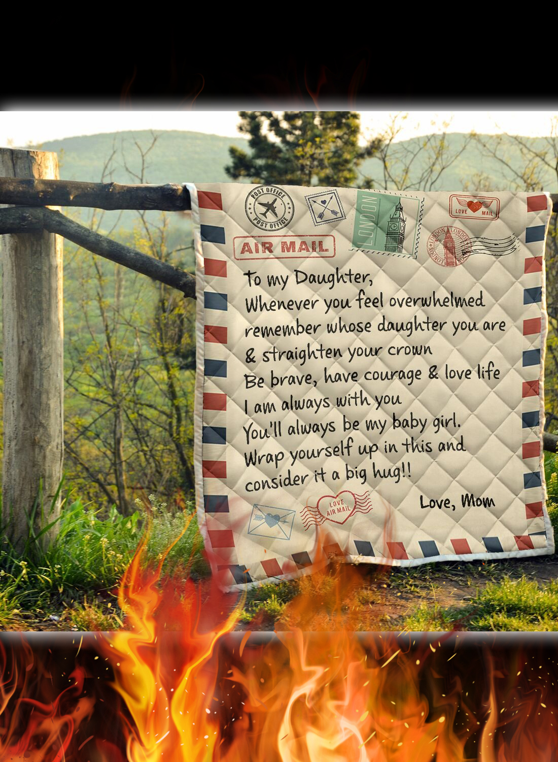 Letter air mail to my daughter love mom quilt 1