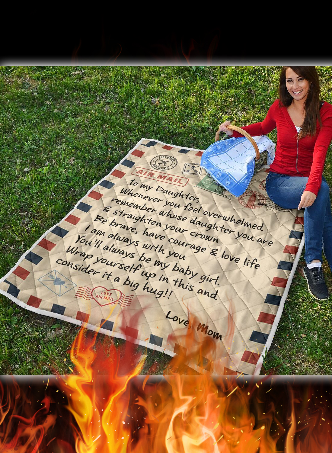 Letter air mail to my daughter love mom quilt