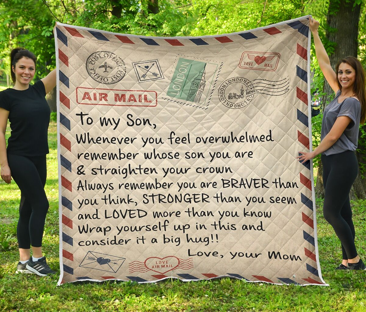Letter air mail to my son mom quilt blanket