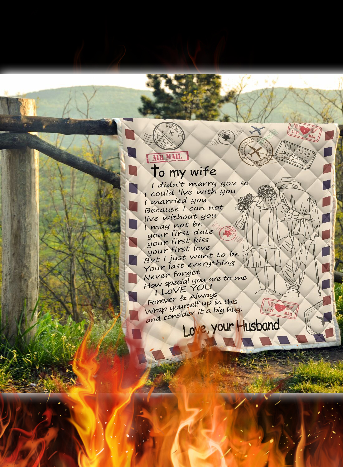 Letter air mail to my wife love your husband quilt 2