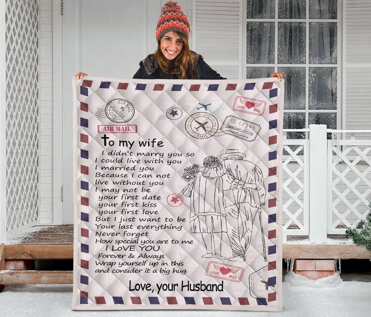 Letter air mail to my wife your husband quilt blanket 2
