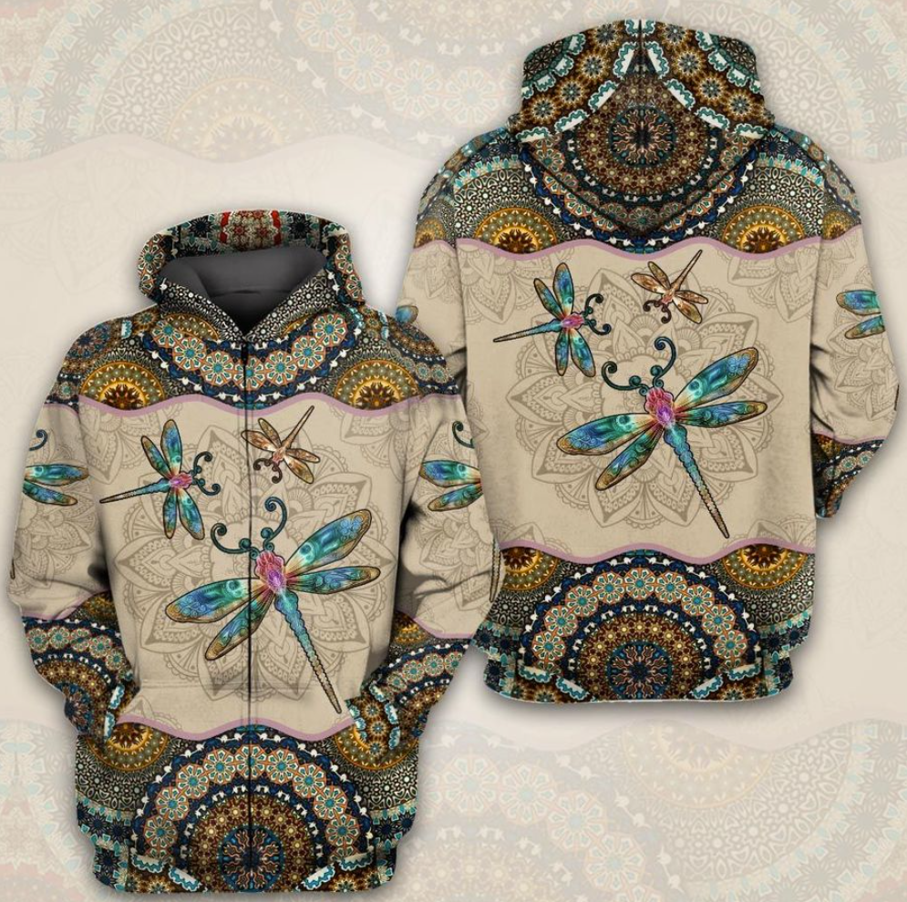 Mandala dragonfly all over printed 3D hoodie - dnstyles