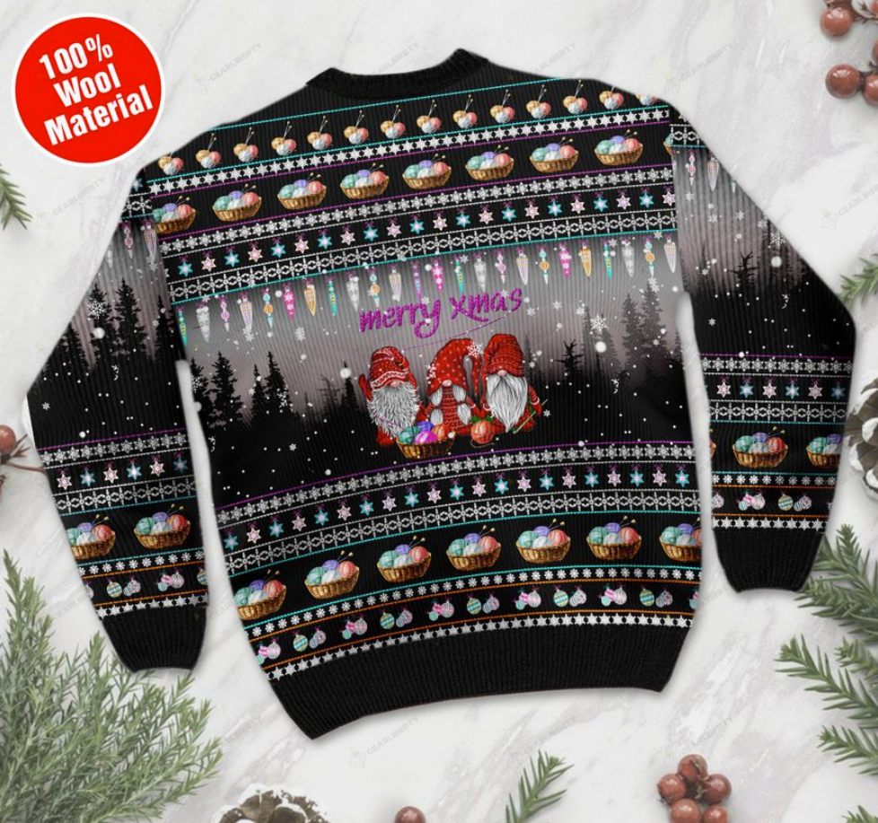 Merry xmas gnomes crochet ugly sweater - dnstyles